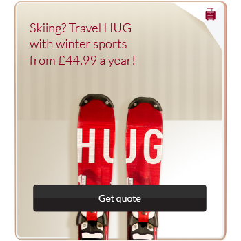 Travel insurance advert with image of Skis and a large call to action button